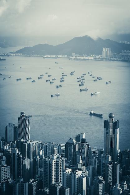 Paisagem urbana de hong kong na manhã, cidade e conceito de construção Foto Premium