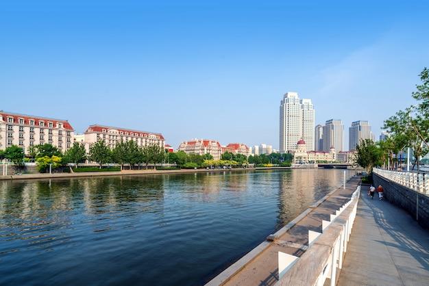 Paisagem urbana de tianjin, china Foto Premium