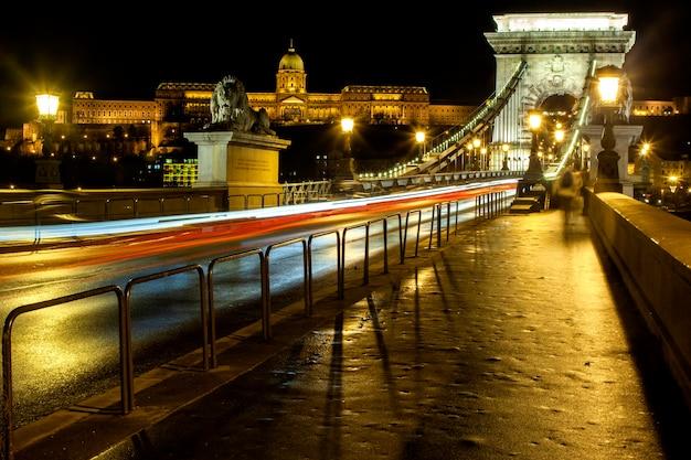 Paisagem urbana noturna de budapeste com a basílica de santo estêvão, o rio danúbio e a ponte das correntes de szechenyi - imagem. Foto Premium