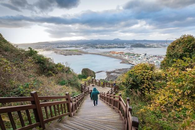 Paisagem, vista alta ângulo, pico montanha, jeju, coreia sul Foto Premium