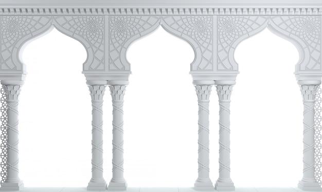 Palácio de arcada oriental branco no estilo árabe. Foto Premium
