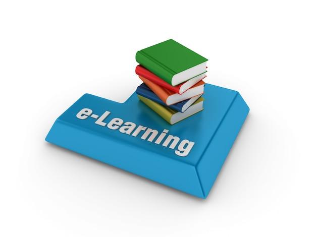 Palavra-chave compyter com livros e palavra de e-learning Foto Premium