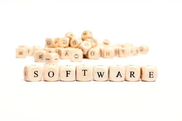 Palavra com dados no software de fundo branco Foto Premium