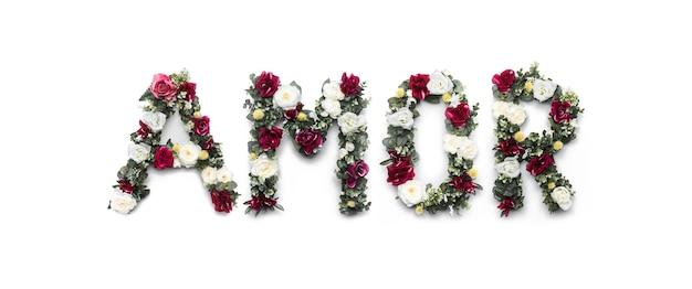 Palavra de amor de flores em branco Foto gratuita