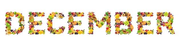 Palavra de dezembro feita de frutas tropicais e exóticas Foto Premium