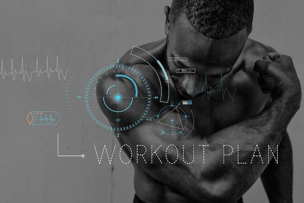 Palavra de gráfico de treino de estilo de vida de saúde de bem-estar Foto gratuita