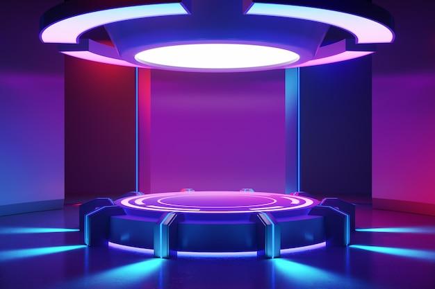 Palco de círculo com luz neon roxa Foto Premium