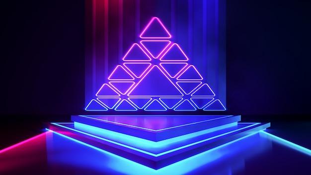 Palco de triângulo com luz de néon fumaça e roxo Foto Premium