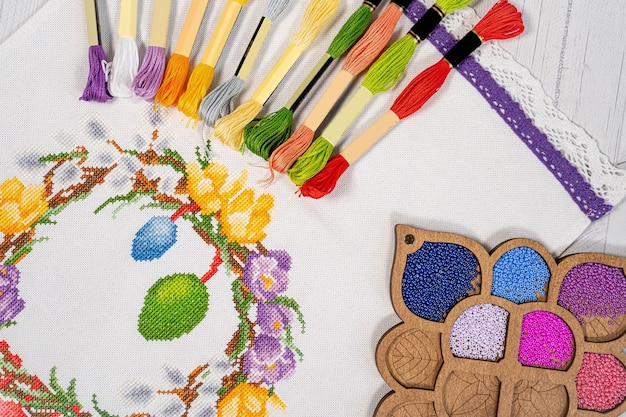 Paleta de cores de linha. fios para bordado de tricô hobby Foto Premium