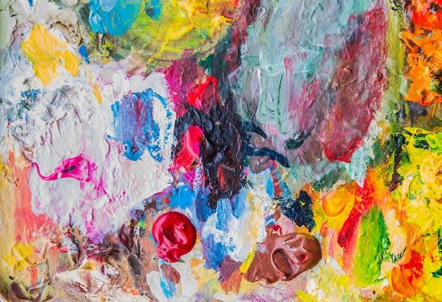 Paleta de tinta acrílica abstrata de colorido, misturar cores, plano de fundo Foto Premium