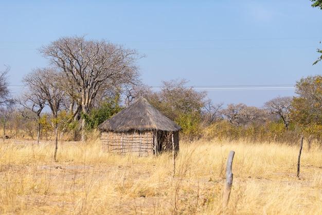Palha de barro e cabana de madeira com telhado de colmo no mato. aldeia local na zona rural de caprivi, a região mais populosa da namíbia, áfrica. Foto Premium