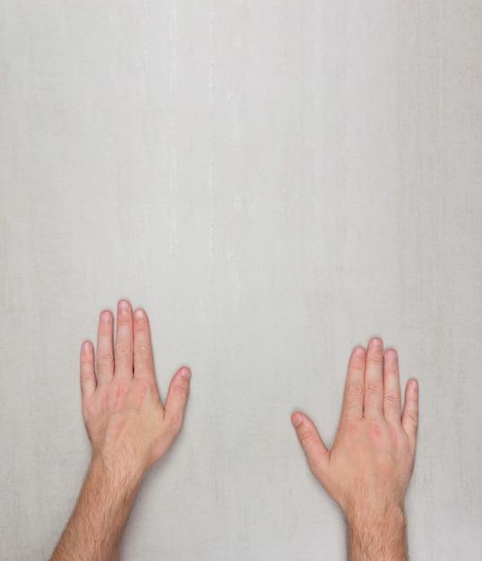 Palm homens na superfície cinza com copyspace Foto Premium