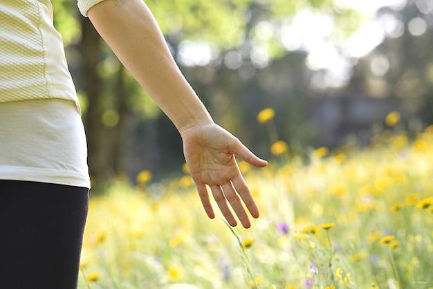 Palma da mão aberta da mulher em um prado florido Foto Premium