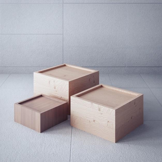 Pano de fundo atemporal / caixa de exibição / interior em 3d Foto Premium