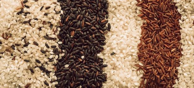 Pano de fundo feito com diferentes tipos de grãos de arroz orgânico Foto gratuita