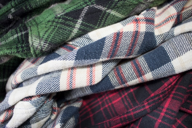 Pano de tecido de flanela xadrez Foto Premium