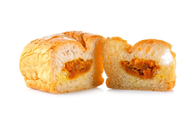 Pão de porco ralado em fundo branco Foto Premium