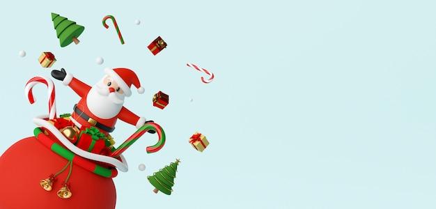 Papai noel saindo da sacola de presentes renderização 3d Foto Premium