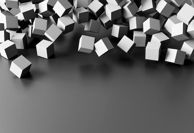Papel de parede criativo com cubos cinza e espaço de cópia Foto gratuita