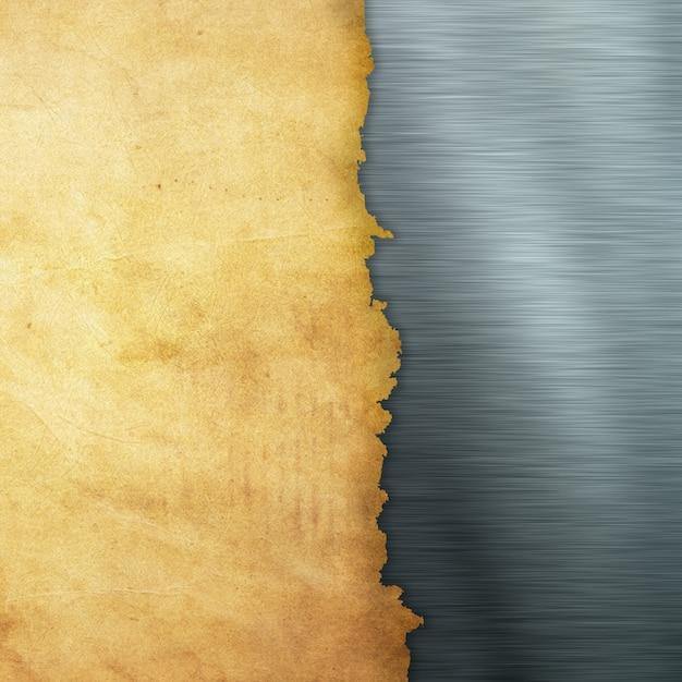Papel grunge em um fundo de metal escovado Foto gratuita
