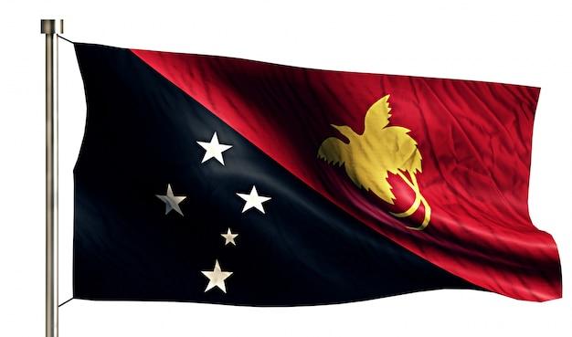Papua nova guiné bandeira nacional isolada 3d fundo branco Foto gratuita