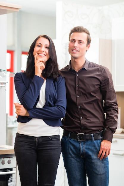 Par, comprando, doméstico, cozinha, loja mobília Foto Premium