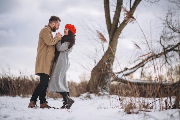 Par jovem, em, inverno, parque Foto gratuita