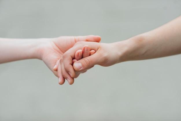 Par, segurando, mãos, cinzento, fundo Foto gratuita