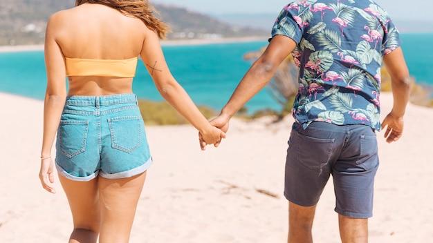 Par, segurando, mãos, e, olhando mar Foto gratuita