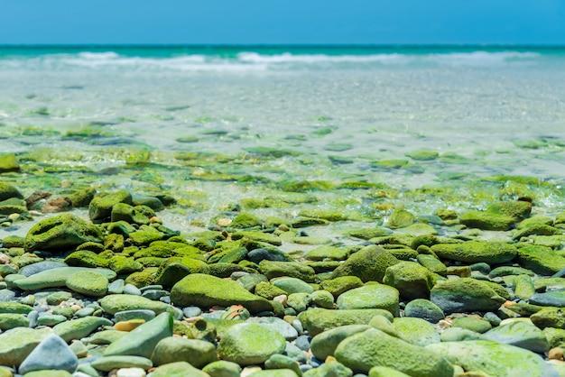 Paraíso da praia de srichang, tailândia ásia. praia fantástica com pedras verdes. praia tropical para relaxar. ondas da costa do mar. desfrute suave onda do oceano azul, foco seletivo Foto Premium