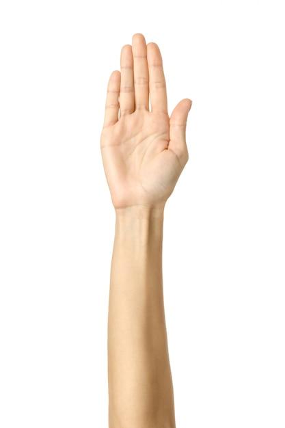 Pare com isso! mão de mulher gesticulando isolado no branco Foto Premium