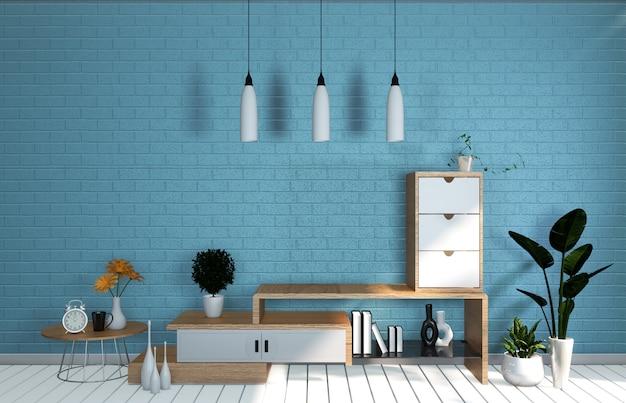 Parede azul da hortelã da sala do modelo da tevê na sala de visitas japonesa. renderização em 3d Foto Premium