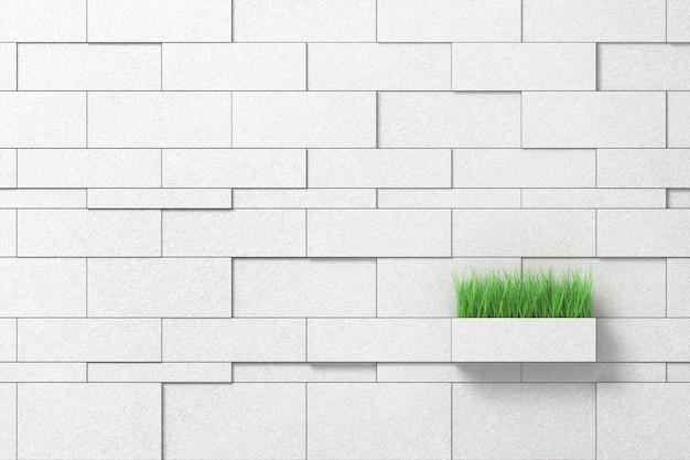 Parede branca de blocos multi-tamanho com um pote de verduras Foto Premium