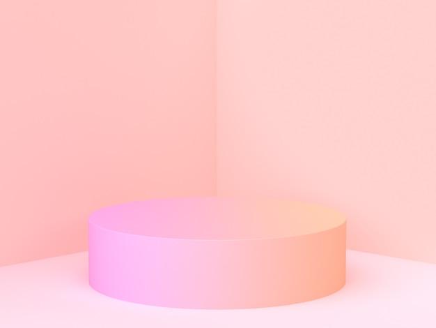 Parede canto cena 3d rendering rosa gradiente Foto Premium