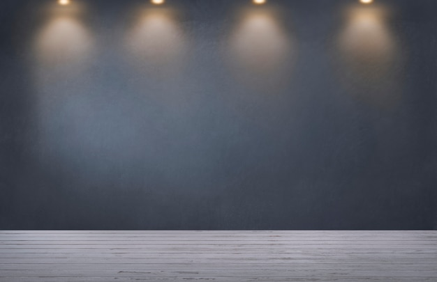 Parede cinza escuro com uma linha de holofotes em um quarto vazio Foto gratuita