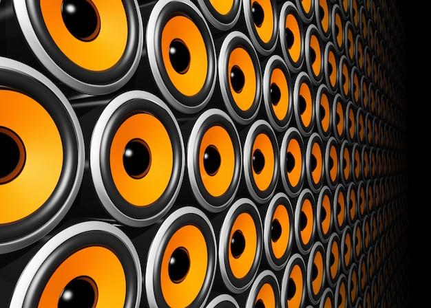 Parede de alto-falantes laranja Foto Premium