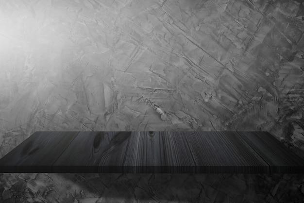Parede de cimento na sala e belo padrão de piso de madeira Foto Premium