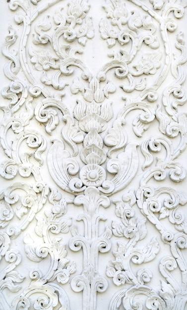 Parede de estuque branco arte tailandesa, templo Foto Premium