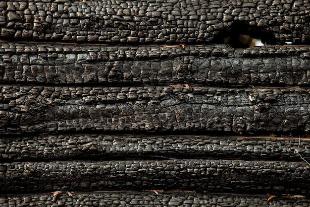 Parede de madeira carbonizada queimada preto. textura suja Foto Premium