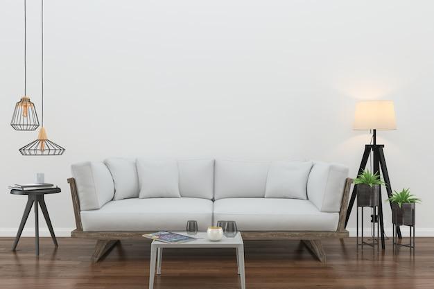 Parede de madeira piso interior sofá cadeira lâmpada interior 3d sala de estar Foto Premium