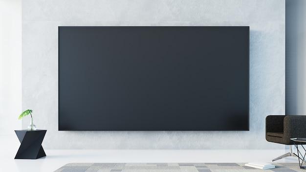 Parede de tv na sala de estar / renderização em 3d Foto Premium
