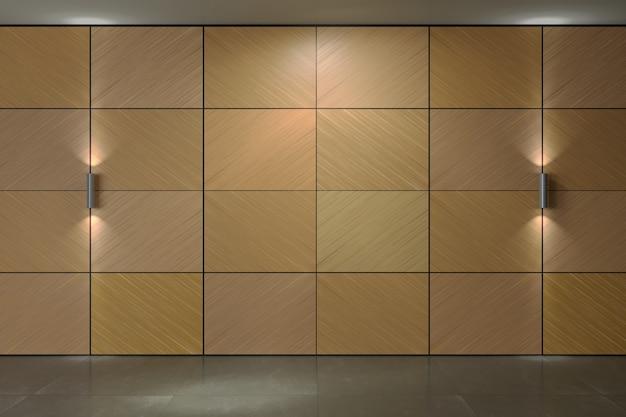 Parede do fundo dos painéis da madeira compensada. lâmpadas. textura de painéis folheados de madeira ou fachada interior Foto Premium
