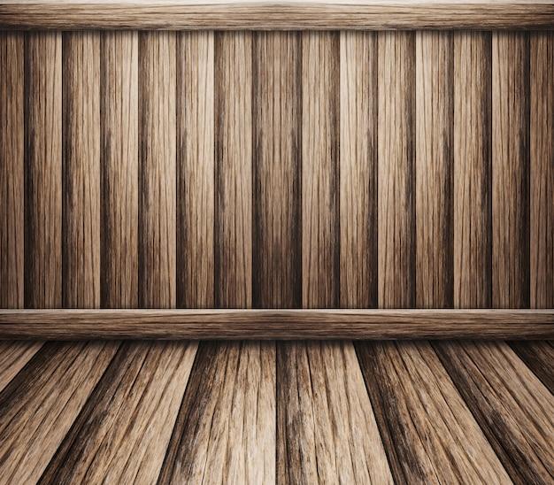 Parede interior com piso de madeira para o fundo Foto Premium