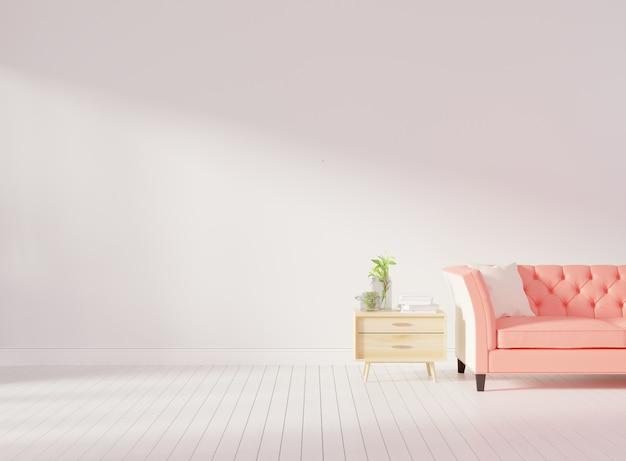 Parede interior de sala de estar mock up com sofá tufado-de-rosa Foto Premium