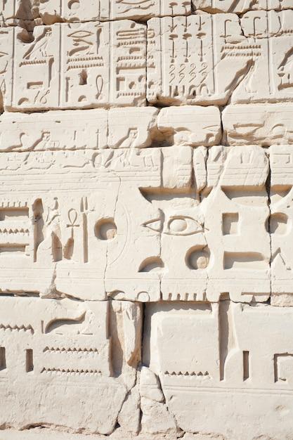 Parede no templo de karnak em luxor, egito Foto gratuita