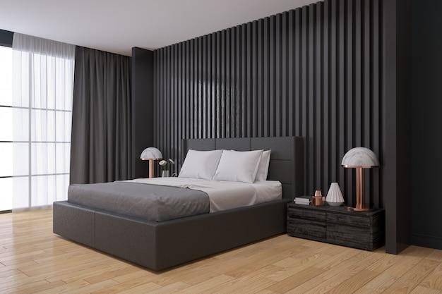 Parede preta, interior moderno quarto Foto Premium