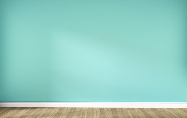 Parede verde da hortelã no interior de madeira do assoalho. renderização 3d Foto Premium