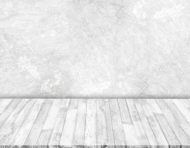 Paredes de concreto branco e piso de madeira branca Foto Premium
