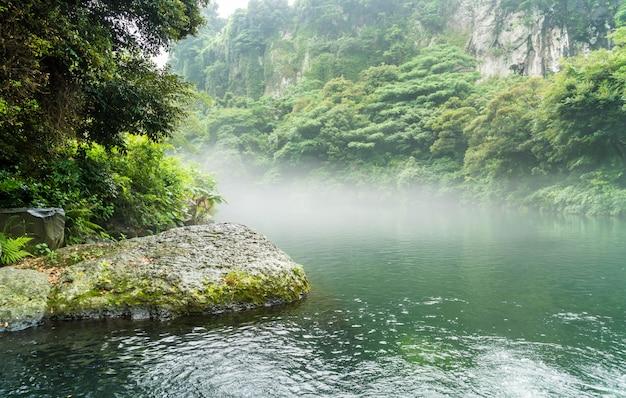 Parque do jardim em cheonjiyeon cachoeiras na ilha de jeju Foto Premium