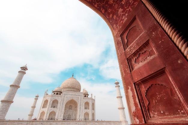 Parte, taj mahal, mesquita, em, agra, índia Foto Premium